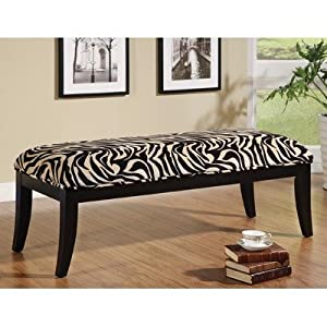 Zebra Print Solid Birch Bedroom Bench