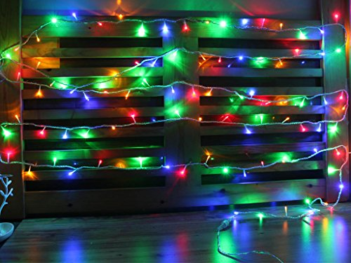 25FT Multi Color (100 LEDs) Battery Operated Outdoor and Indoor Extendable String Lights with 8 ...