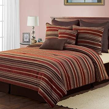Ozil Amber Striped Chenille 8 Piece Comforter Set In Red
