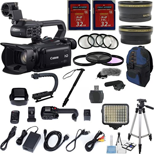 """Canon Xa20 Professional Camcorder With 10X Hd Video Exclusive Celltime Bundle With .43X Wide Angle Lens + 2.2X Telephoto Lens + Video Led Light + Professional Size 59"""" Tripod + 2Pcs 32Gb High Speed Memory Cards + 22Pc Accessory Kit"""