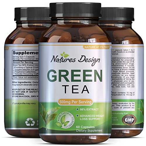 Green Tea - Weight Loss Pills - Detox Cleanse - Burn Belly Fat - Lose Weight Naturally Fast - Dietary Supplement - Pure Extract - For Men & For Women - Pre Workout + Natural Energy - Made by Phytoral (Man Energy Pills compare prices)