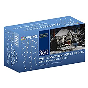 The Christmas Workshop 360 LED Snowing Icicle String Lights, Bright White from Benross Group