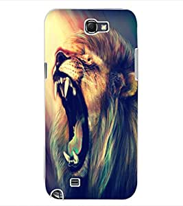 ColourCraft Roaring Lion Design Back Case Cover for SAMSUNG GALAXY NOTE 2 N7100