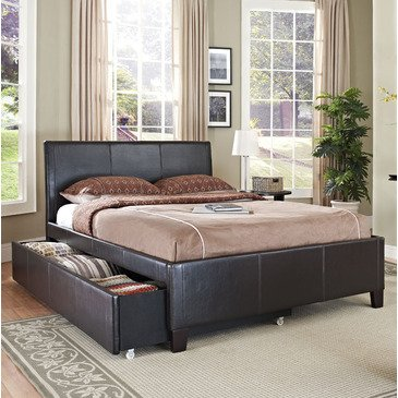 S%$ Standard Furniture New York Upholstered Trundle Bed In Brown