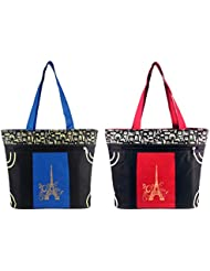 Diyaras Heavy Matty Black- Blue & Black-Red Women's Shoulder Or Shopping Bag. (Pack Of 2)
