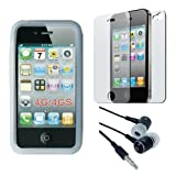 Clear Soft Silicone Skin Case + Clear Back/Front Crystal Screen Protector + Earphone for Apple Iphone 4S 8GB 16GB 32GB