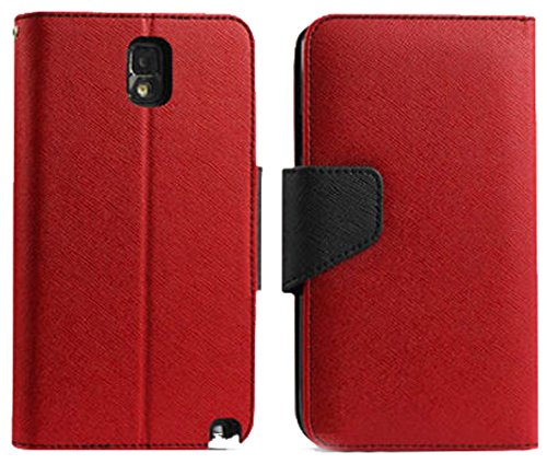 Mylife Lava Red + Deep Black {Professional Design} Faux Leather (Card, Cash And Id Holder + Magnetic Closing) Slim Wallet For Galaxy Note 3 Smartphone By Samsung (External Textured Synthetic Leather With Magnetic Clip + Internal Secure Snap In Closure Har front-47431