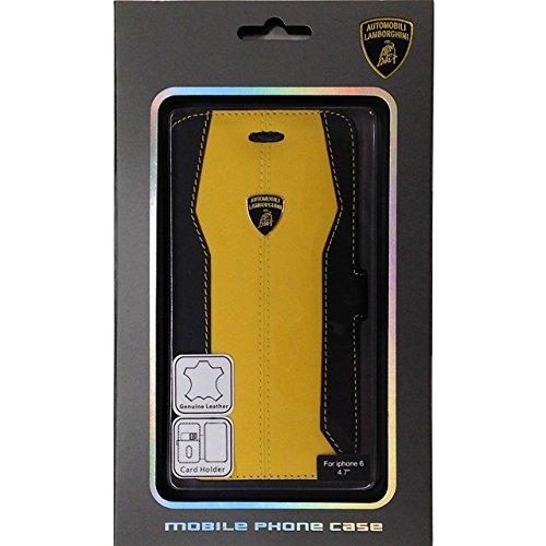 エアージェイ ランボルギーニ(Lamborghini)公式ライセンス品 iPhone6 4.7インチ専用 本革 手帳型ケース ウラカンD-1イエロー LB-SSHFCIP6S-HU/D1YW