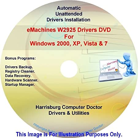 eMachines W2925 Drivers DVD Disc eMachine W2925 - Windows, XP, Vista and 7 Driver Kits - Automatic Drivers Installation.