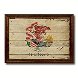 Illinois State Vintage Flag Art Collection Western Shabby Cottage Chic Interior Design Office Wall Home Decor Gift Ideas, 27\