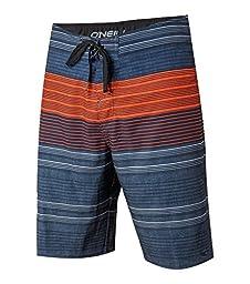 O\'Neill Men\'s Catalina Stripe Boardshort, Navy Orange - 33