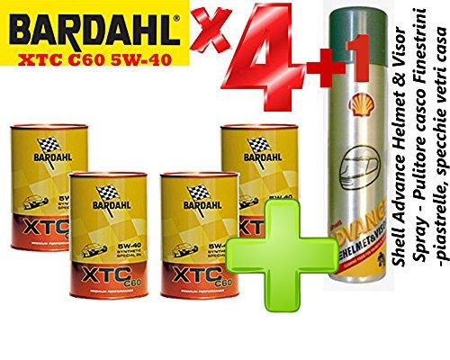 Olio-motore-auto-Totalmente-Sintetico-Bardahl-XTC-C60-5W-40-Offerta-4-Litri-Shell-Advance-Helmet-Visor-Spray-Pulitore-casco-Finestrini-auto-piastrelle-specchi-e-vetri-casa