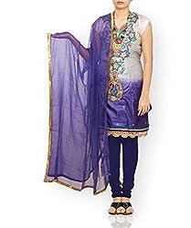 Unnati Silks Women Semi stitched grey-blue tussar silk salwar kameez dress material
