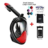 Snorkel Mask 180° view for Adults and Youth. Full Face Free Breathing Design.[Free Bonuses] Cell Phone Universal Waterproof Case (Dry Bag) and Anti-Fog wipes (Black/Red, Large/Extra Large) (Color: Black/Red, Tamaño: Large/Extra Large)