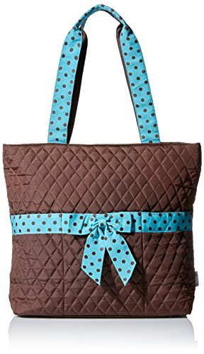 Belvah Quilted 3pc Set Large Diaper Bag (Brown/ Turquoise)
