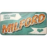 Metal License Plate Greetings from Milford, Vintage Postcard - Neonblond