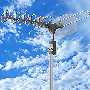 150 Mile 360 Rotor HDTV 1080P Outdoor Amplified Antenna Digital HD TV UHF/VHF/FM