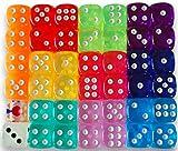 ダイス おもちゃ DICE TRPG 透明ダイス6面 サイコロ 10色 各4個(合計40個セット)TRPG ダイス ラウンド+光る蓄光ダイス1個+クリアダイス1個+収納袋2つ付きボードゲーム カードゲーム サイコロ