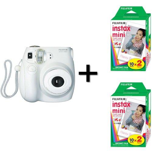 Fujifilm Instax Mini 7S Instant Film Camera White + 40 Instax Mini Film