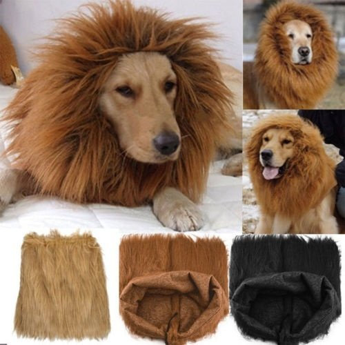 xxmao New Pet Costume Lion Mane Wig For Dog Halloween Cloth Festival Fancy Dress Up Light brown S (Pet Costumes For Small Dogs)