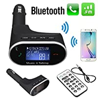 AUDEW Car Bluetooth FM Transmitter Modulator Kit MP3 Player Remote USB For Samsung S6