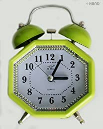 2836 Extremly Silent Quartz Twin Metal Bell Alarm Clock - assorted colours and shapes (2836D Diamante Shape)