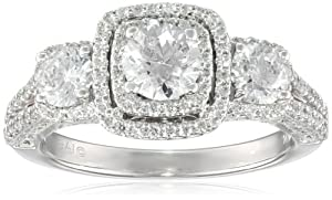 14k White Gold Diamond (2cttw, H-I Color, I2-I3 Clarity) 3-Stone Engagement Ring, Size 7 by The Aaron Group
