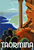 TA63 Vintage Italy Taormina Messina Italian Travel Poster Re-Print - A4 (297 x 210mm) 11.7