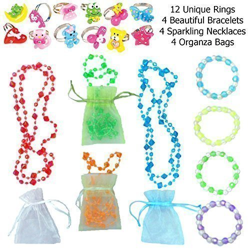 Girls-Adorable-Accessory-Dress-up-Set-20-Pc-Jewelry-12-Cute-Rings-4-Necklaces-Each-in-an-Organza-Bag-4-Bracelets-Great-Stocking-Stuffers