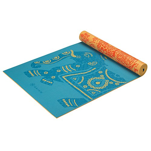Gaiam Print Premium Reversible Yoga Mat, 5 mm, Elephant