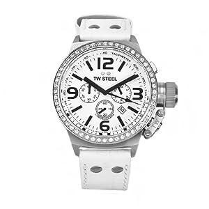 TW Steel CANTEEN STYLE TW-10 - Reloj unisex de cuarzo, correa de piel color blanco