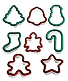Set of 8 Christmas Themed Cookie Cutters, Plastic with Soft Grip Edges, Assorteed Designs Cookie Cutters, Snowman, Candy Cane, Angel, Bell, Tree, Gingerbread, Star and Stocking Shapes