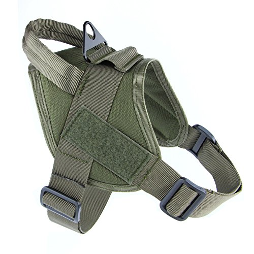 MEIKAI Tactical Service K9 Dog Harness Police Patrol Vest Training Molle Harness Vest Comfort Nylon (S, Ranger Green) (Bulldog Puppy Collar compare prices)