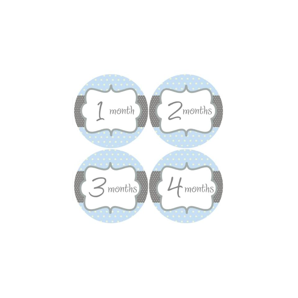 Blue Polka Dots #141 Boy Baby Month Stickers for Bodysuit  Nursery Wall Decor  Baby