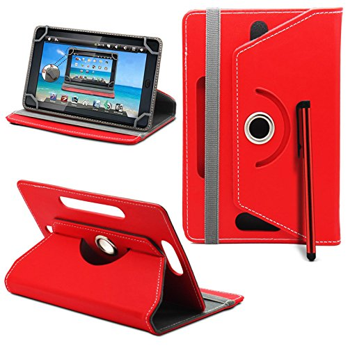 Acer Iconia Tab A1-811 / A1-810 Tablet Neues Design Universelle um 360 Grad drehbare PU-Leder Designer bunte Hülle mit Standfunktion - Cover - Tasche - Rote / Plain Red Von Gadget Giant®