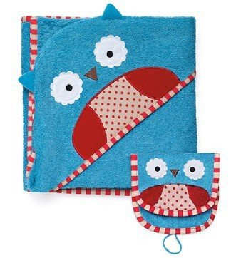Skip Hop Soft Cotton Terry Toddler Bath Towels With Wash Mitt (Owl) front-979155