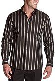 Perry Ellis Men's Bold Satin Stripe Shirt,Dark Chocolate,X-Large