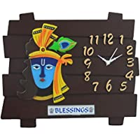 Feelings Café Club Krishna Wall Clock (Brown, Multicolor)