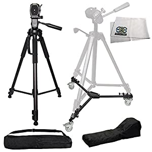 Professional 70-inch 3-way Panhead Tilt Motion with Two Built In Bubble Leveling Tripod + Heavy Duty Portable Tripod Dolly for Canon EOS 5D Mark III, 5D Mark II, 6D, 70D, SL1, 60D, 7D, 7D Mark II, T6s, T6i, T5i, T4i, T3i, T3, T2i, T1i, Xsi, XS
