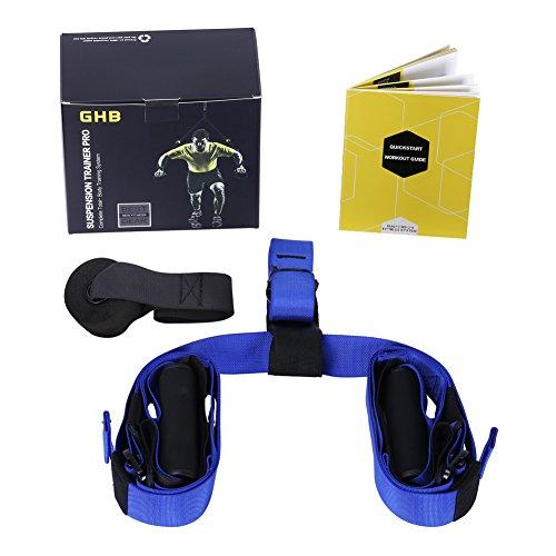 GHB Attrezzo di Sospensione Fascia per Allenamento Suspension Trainer fino a 300KG per Fitness a Casa, all'aperto, in Palestra ecc, Adulto Unisex - Blu Nero