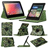 Stuff4 MR-NX7-L360-PAT-GCAM-STY-SP Camouflage Designed Leather Smart Case with 360 Degree Rotating Swivel Action and Free Screen Protector/Stylus Touch Pen for 7 inch Google Nexus 7