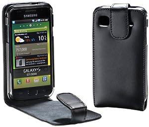 MaryCom PREMIUM QUALITÄT Leder Handytasche schwarz für Samsung Galaxy S Super Clear LCD i9003 Smartphone + Gratis Displayschutzfolie / LTS i9003