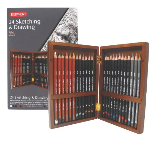 Derwent Sketching Wooden Box Set of 24 Sketching and Drawing Pencils