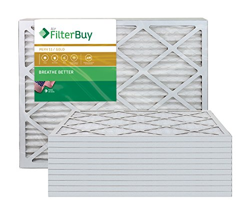 AFB Gold MERV 11 20x23x1 Pleated AC Furnace Air Filter. Pack of 12 Filters. 100% produced in the USA.