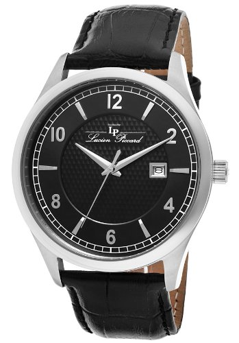 Lucien Piccard Men's 11581-01 Weisshorn Black Textured Dial Black Leather Watch