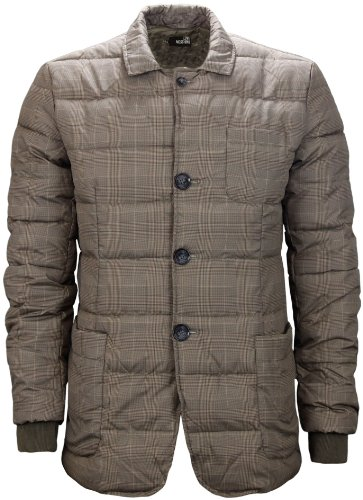 Moschino Men's Quilted Check Print Jacket Brown (Large)