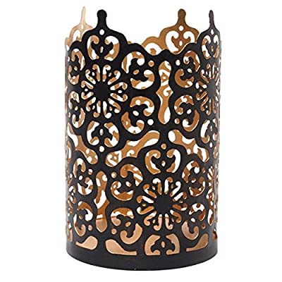 """Hosley's Flower 7"""" High Cut Bronze Candle Holder & Lantern. Ideal for Use with Hosley Highly Scented Candles, Jar Candles"""