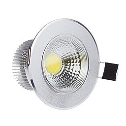 Lemonbest® Super Bright 5 Watts COB LED Ceiling Light Downlight Warm/Cool White Spotlight Lamp Recessed Lighting Fixture For Household Hotel Bar Restaurant Lighting (Cool white, Dimmable)