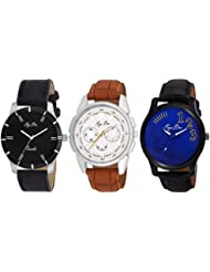Pappi Boss - BRANDED ORIGINAL - Pack Of 3 Exclusive Analog Combo Deal Casual Wrist Watches For Men, Boys
