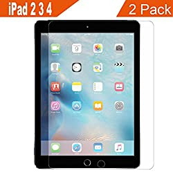 Supone iPad 2 3 4 Glass Screen Protector, 2 Pack 9H Hardness Hd Clear film Ultra Thin Guard Anti-bubble Tempered Glass Screen Protector For Apple iPad 2 3 4